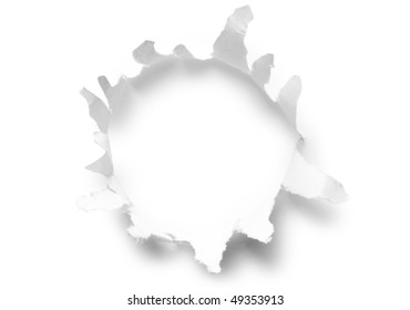 Round hole in paper with white background inside