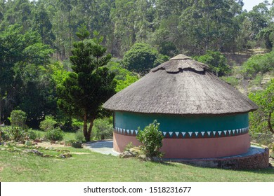 Round hut with grass roof, rondaval, south african zulu hut