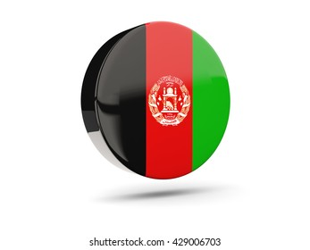 Round icon with flag of afghanistan. 3D illustration