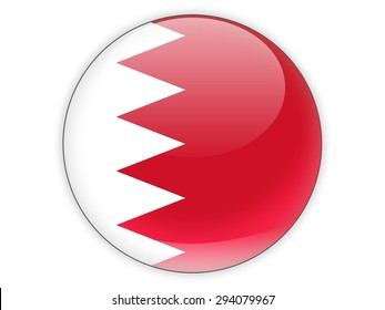 Round icon with flag of bahrain isolated on white
