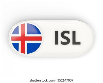 Round icon with flag of iceland and ISO code