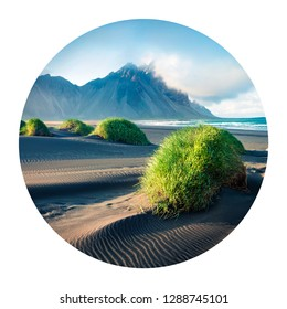 Round icon of nature with landscape. Black sand dunes on the Stokksnes headland on southeastern Icelandic coast with Vestrahorn (Batman Mountain) on background, Iceland. Photography in a circle.