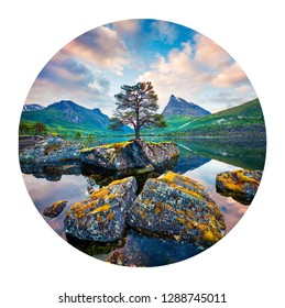 Round icon of nature with landscape. Fantastic summer sunrise on Innerdalsvatna lake. Calm  morning scene of Norway, Europe. Photography in a circle.