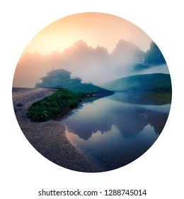 Round icon of nature with landscape. Foggy morning view of Baita Segantini mountain refuge with Cimon della Pala peak. Summer sunrise in Dolomiti Alps, Rolle pass, Italy. Photography in a circle.