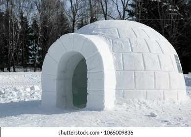 Round Igloo icehouse , Snowhouse yurt, Eskimo shelter built of ice