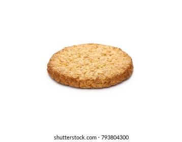 Round integral, wholewheat biscuits with coconut isolated on white background