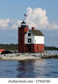 Round Island Light, located in the Mackinac Straights near Mackinac Island, Michigan.