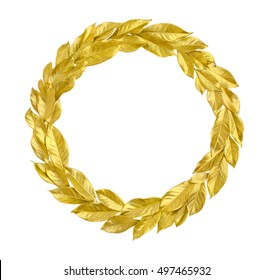 Round Laurel Wreath from golden leaves isolated on white background. Useful for holiday invitation, decorative design etc.
