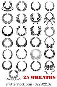 Round laurel wreaths heraldic icons set with ribbons and branches for design such as heraldry, awards and anniversaries