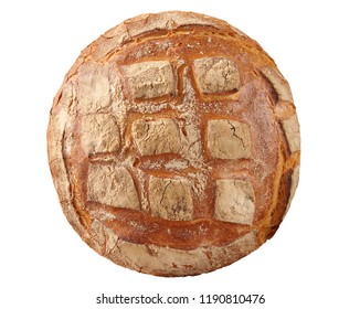 Round loaf of bread top view isolated on a white background