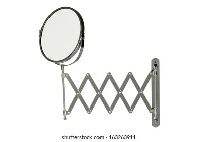 Round magnifying mirror with a retractable wall-mounted stainless steel arm, isolated on white background