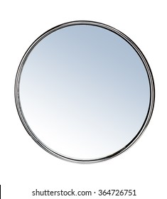 Round mirror - isolated on white background