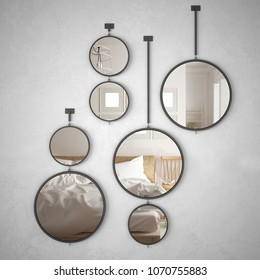 Round mirrors hanging on the wall reflecting interior design scene, minimalist scandinavian bedroom, modern architecture, 3d illustration
