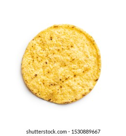 Round nacho chips. Yellow tortilla chips isolated on white background.