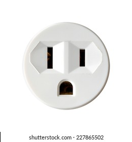 Round North American Electrical Outlet Isolated on White Background