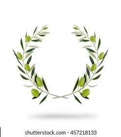 Round olive wreath with green fruits, isolated