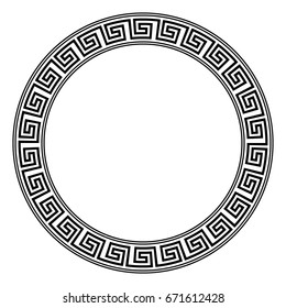 Round ornament meander on white background.
