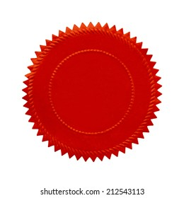 Round Ornate Red Seal With Copy Space Isolated on White Background.