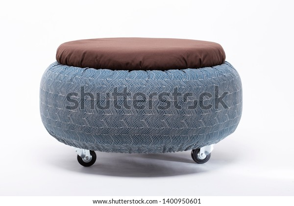 Fabulous Round Ottoman Stool Chair Decorative Fabric Royalty Free Pabps2019 Chair Design Images Pabps2019Com