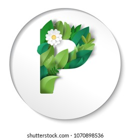 Round paper cut design. Letter P of leaves and flower.