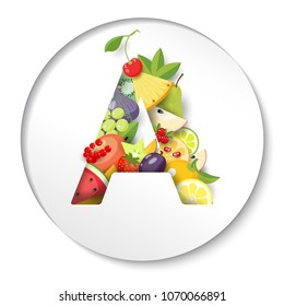 Round paper with letter A of fruits. Illustration.