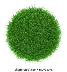 a round piece of cropped grass to be installed. 3d rendering