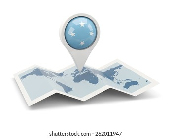 Round pin with flag of micronesia on the map