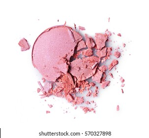 Round pink crashed eyeshadow for make up as sample of cosmetics product isolated on white background