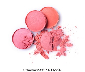 Round pink crashed eyeshadow for make up as sample of cosmetic product isolated on white background
