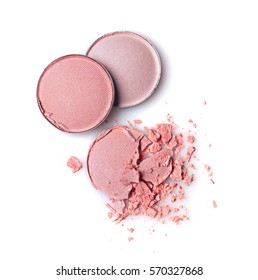 Round pink crashed eyeshadows for make up as sample of cosmetics product isolated on white background