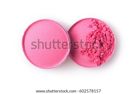 Make Up Stoel : Round pink crushed eyeshadow make sample stock photo edit now