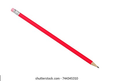 Round pink pencil isolated on white background.