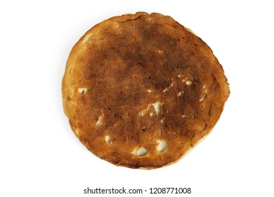 Round pita bread. Close-up. Isolated on white background.