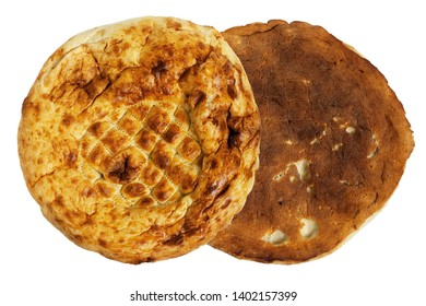 Round pita bread. Close-up. Isolated on white background.