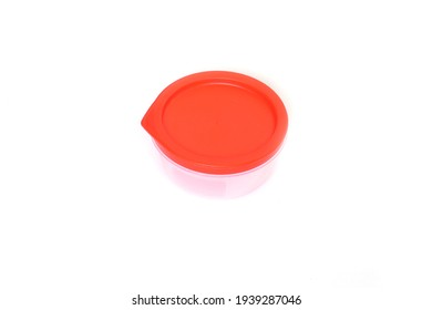 Round Plastic container in a white background