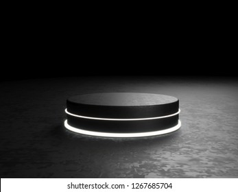 Round podium, pedestal or platform, illuminated by led spotlights. illustration. Bright lightpodium. Advertising place. Blank product stand and Abstract background with light. 3d Rendering