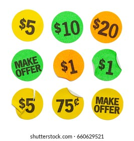 Round Price Stickers Isolated on White Background.