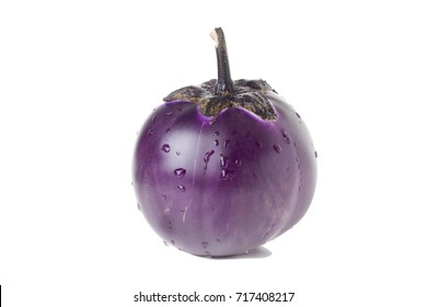 Round purple eggplant. Isolated on a white background.