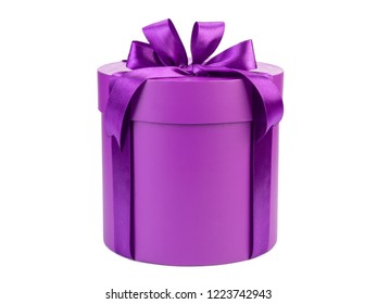 round purple gift box with bow isolated on white background.