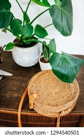 A round rattan ata crossbody bag laying on a wooden stand under a Monstera plant and a cactus.