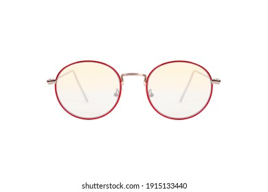 Round Red frame Eyeglasses isolated on white background.