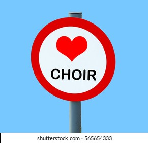 round road sign with heart (love motif) with choir