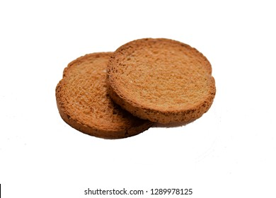 Round rusks on a white background