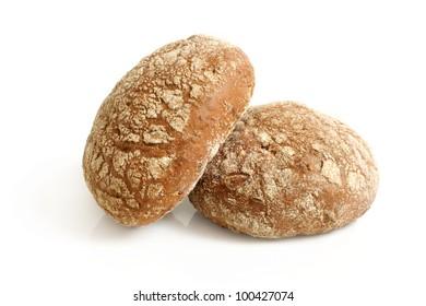 Round rye buns on a white background
