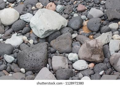 Round sea pebbles.