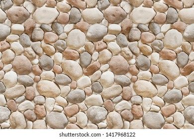 Round Sea Stone wall with natural worked rocks of different shapes and colors,Seamless Bricks Stone wall elevation for Abstract backgrounds.