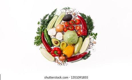Round shape by various vegetables and fruits isolated on white background. Healthy eating concept. Flat lay. Still life