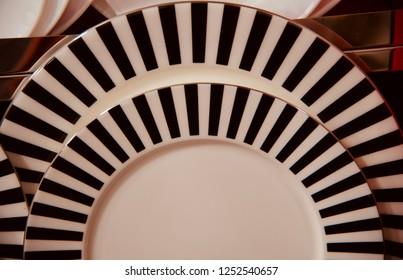 Round shape ceramic plates isolated unique photo