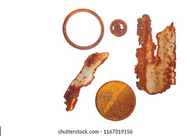 Round shape and different shape of rusty materials on white background