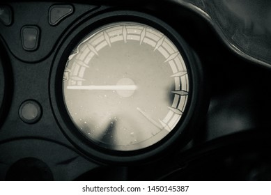 Round shape odometer of a motorbike isolated unique photo